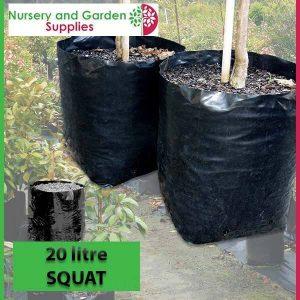 20 litre Squat Poly Planter Bags at Nursery and Garden Supplies - for more info go to nurseryandgardensupplies.com.au