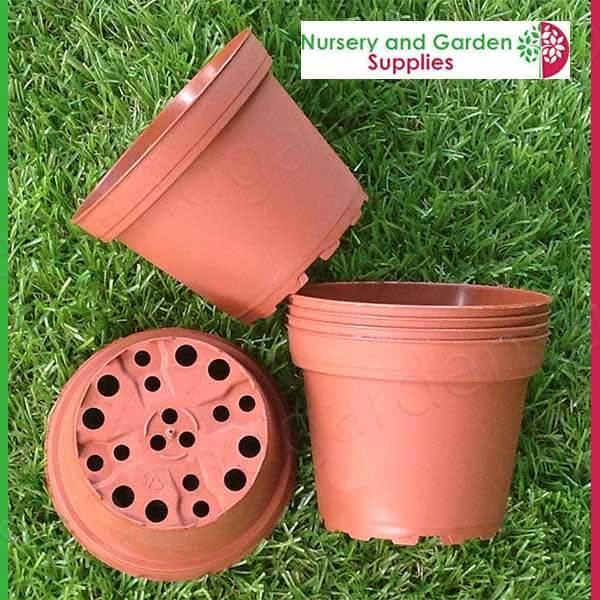 100mm Squat Teku Pot Terracotta - for more info go to nurseryandgardensupplies.com.au