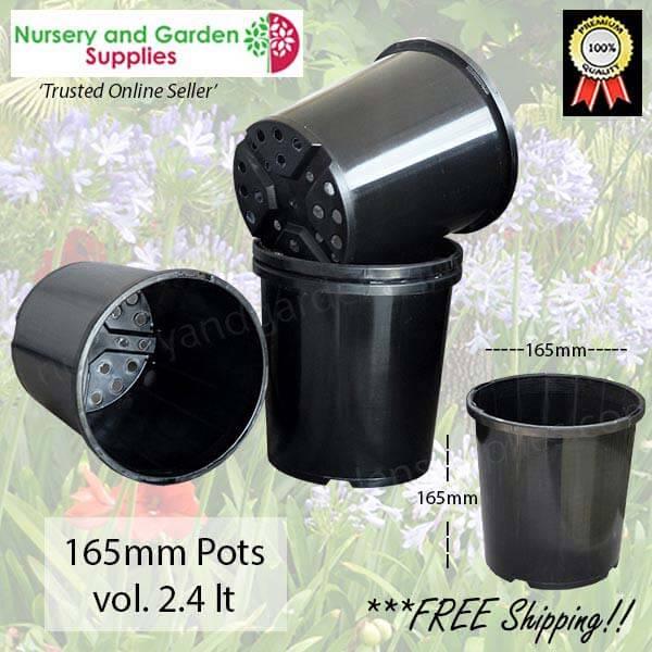 165mm Slimline Plant Pot Black - for more info go to nurseryandgardensupplies.com.au