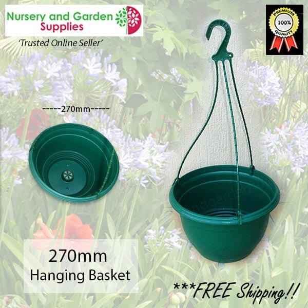 270mm Hanging Baskets Saucerless Green - for more info go to nurseryandgardensupplies.com.au