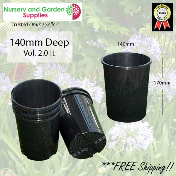 140mm Deep Plant Pot - for more info go to nurseryandgardensupplies.com.au