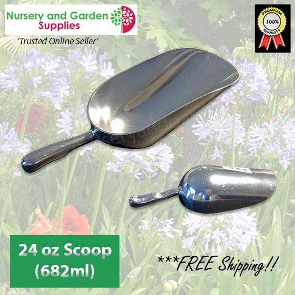 200mm Potting Scoop 24oz ALUMINIUM - for more info go to nurseryandgardensupplies.com.au