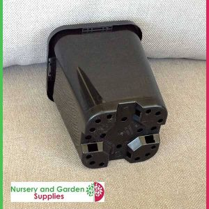 85mm Square plant pot black - for more info go to nurseryandgardensupplies.com.au