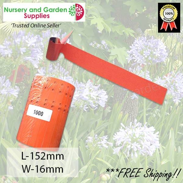Orange Self-tie Loop Lock Plant Tags Vinyl Label - for more info go to nurseryandgardensupplies.com.au