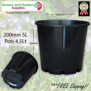 "200mm Plastic Plant Pot 8"" Standard Height Black - for more info go to nurseryandgardensupplies.com.au"