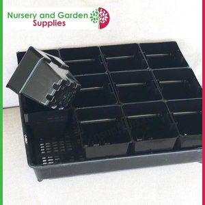 Seedling Tray Restricted Drainage with 100mm Square Punnet-Pot - for more info go to nurseryandgardensupplies.com.au