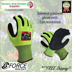 General purpose HiVis Cut 5 Premium Garden Glove - for more info go to nurseryandgardensupplies.com.au