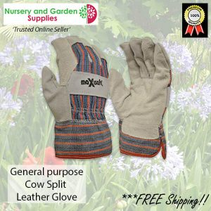 Cow split Leather Palm Glove with Safety Cuff - for more info go to nurseryandgardensupplies.com.au