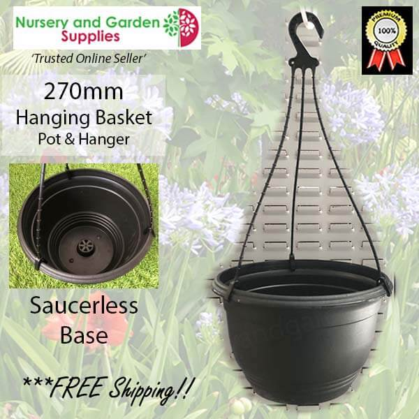 270mm Hanging Baskets Saucerless Black - for more info go to nurseryandgardensupplies.com.au