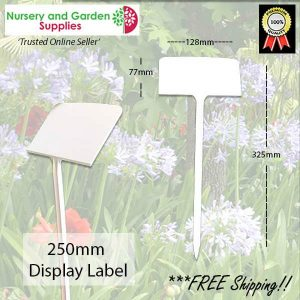 250mm white display plant label - for more info go to nurseryandgardensupplies.com.au